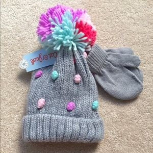 NWT Cat & Jack Hat and Glove Set